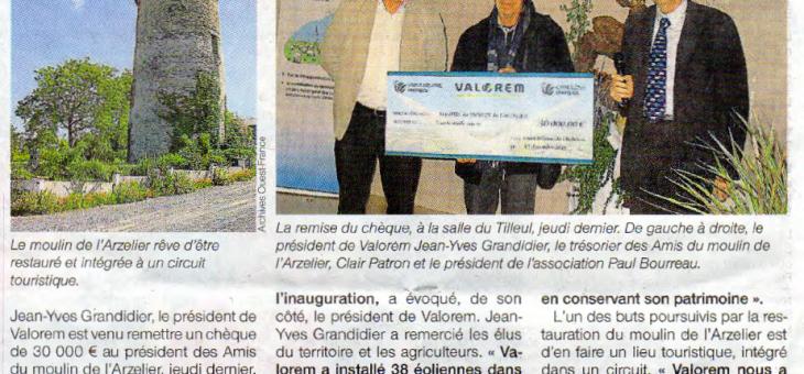Valorem donne 30 000 € aux amis du moulin de l'Arzelier